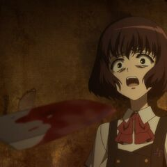 Aki watches in horror as Tomohiko pulls the knife from a mortally wounded Kyouko.
