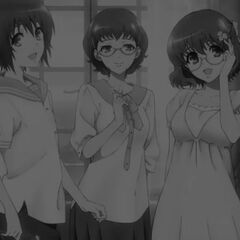 Takako with Yuuya and Yukari. This image demonstrates she can actually smile and not be horrifying.