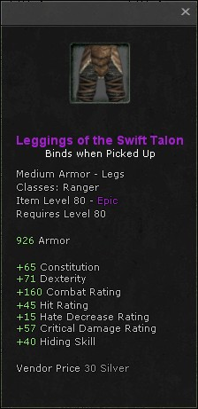 Leggings of the swift talon