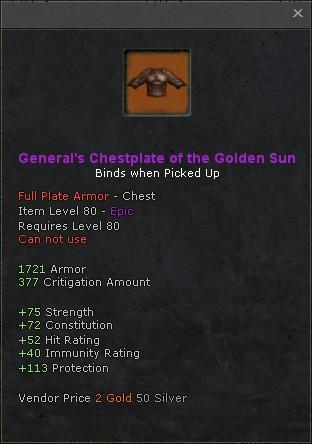 Generals chestplate of the golden sun