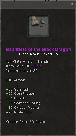 Gauntlets of the black dragon