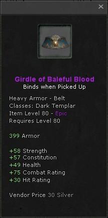 Girdle of baleful blood