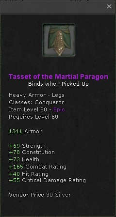 Tasset of the martial paragon