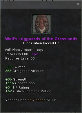Wolfs legguards of the grasslands