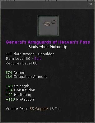 Generals armguards of heavens pass