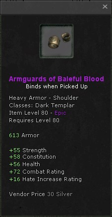 Armguards of baleful blood