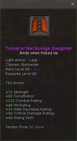 Tasset of the savage slaughter