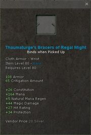 Thaumaturges bracers of regal might