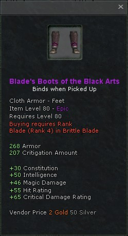 Blades boots of the black arts