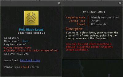 Pet black lotus