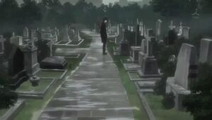 Rin at Father's grave