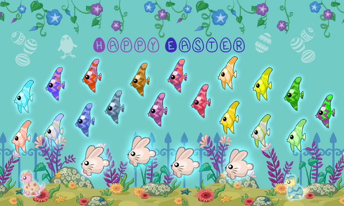 BG2 Aquatic Flowerbed wide Happy Easter