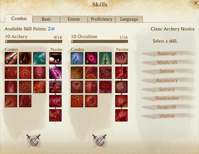Skill selection