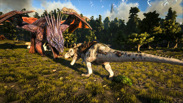File:ARK-Dragon and Tyrannosaurus Screenshot 001.jpg