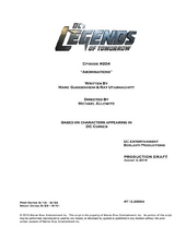 DC's Legends of Tomorrow script title page - Abominations