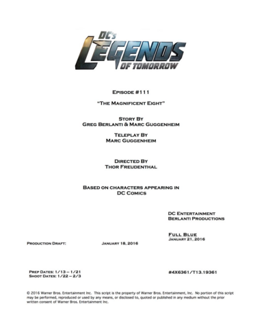 File:DC's Legends of Tomorrow script title page - The Magnificent Eight.png