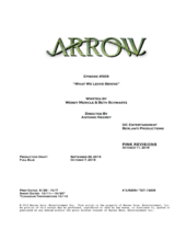 Arrow script title page - What We Leave Behind