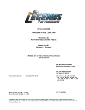 DC's Legends of Tomorrow script title page - Raiders of the Lost Art