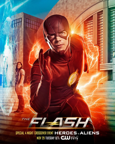 File:The Flash season 3 poster - Special 4 Night Crossover Event Heroes v Aliens.png