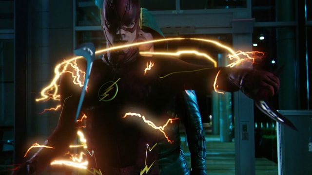 File:The Flash intercepting two boomerangs from striking the Arrow.png