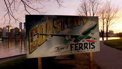 Coast City welcome sign featuring Ferris Airlines