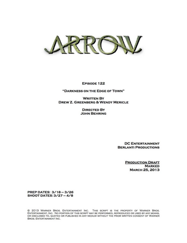 Archivo:Arrow script title page - Darkness on the Edge of Town.png
