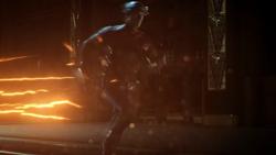 Hunter running as The Flash