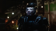 Felicity wearing the A.T.O.M. Exosuit