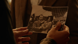Aldus Boardman showing a photograph of him and his parents, Joe and Edith Boardman