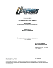 DC's Legends of Tomorrow script title page - The Justice Society of America