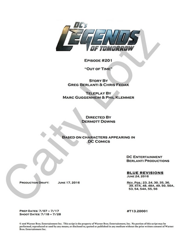 File:DC's Legends of Tomorrow script title page - Out of Time.png