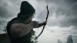 Oliver shooting his bow to alert the passing fisherman of his presence.png