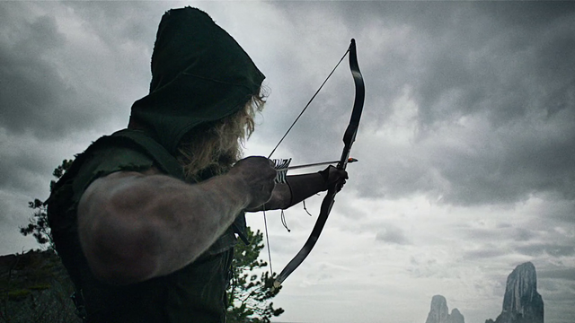 File:Oliver shooting his bow to alert the passing fisherman of his presence.png