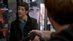 Posters behind Barry Allen