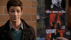 Nighthawk & Cinnamon and Club Neon posters behind Barry Allen