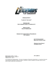DC's Legends of Tomorrow script title page - Land of the Lost