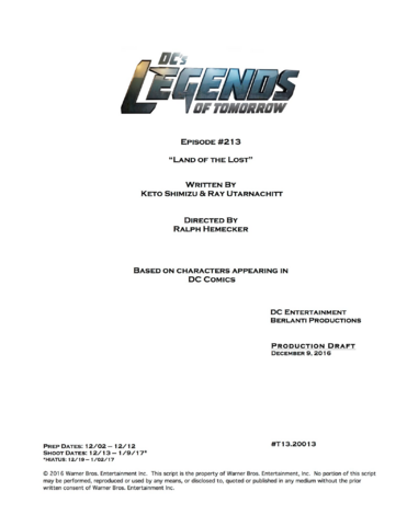 File:DC's Legends of Tomorrow script title page - Land of the Lost.png