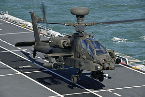 Apache Attack Helicopter Takes Off from HMS Ocean MOD 45150676