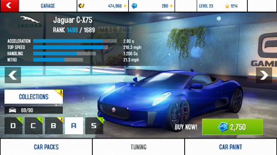 Jaguar C-X75 base stats