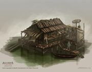 Assassin's Creed 3 Liberation - Voodoo hut-early production sketch for Louisiana swamp - by EddieBennun
