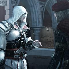 Ezio in gesprek met Leonardo