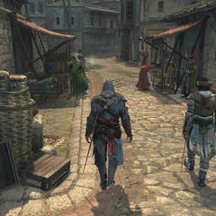 Yusuf geeft Ezio een rondleiding
