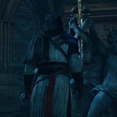 顾问将伊甸宝剑置于雕塑之上