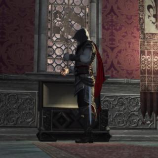Ezio doet Giovanni's kleding aan.