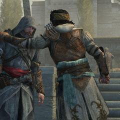 Ezio en Yusuf bedenken een plan om de schuilplaats te verdedigen
