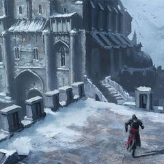 Ezio traversing the fortress' battlements