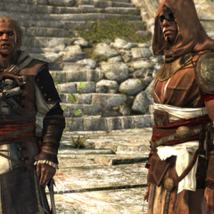 Edward Kenway and Ah Tabai in the temple courtyard