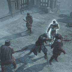 Ezio vecht tegen de Byzantijnse Tempeliers