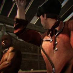 Een slavenhandelaar slaat een slaaf