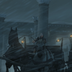 Leandros probeert Ezio van de weg af te duwen